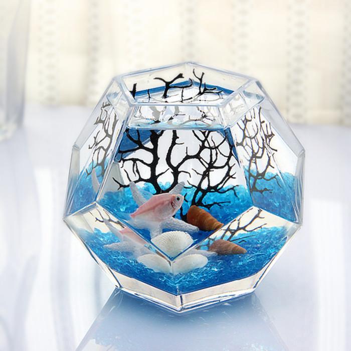 包邮 多面体个性斗鱼缸创意桌面玻璃鱼缸热带鱼缸加厚超白鱼缸