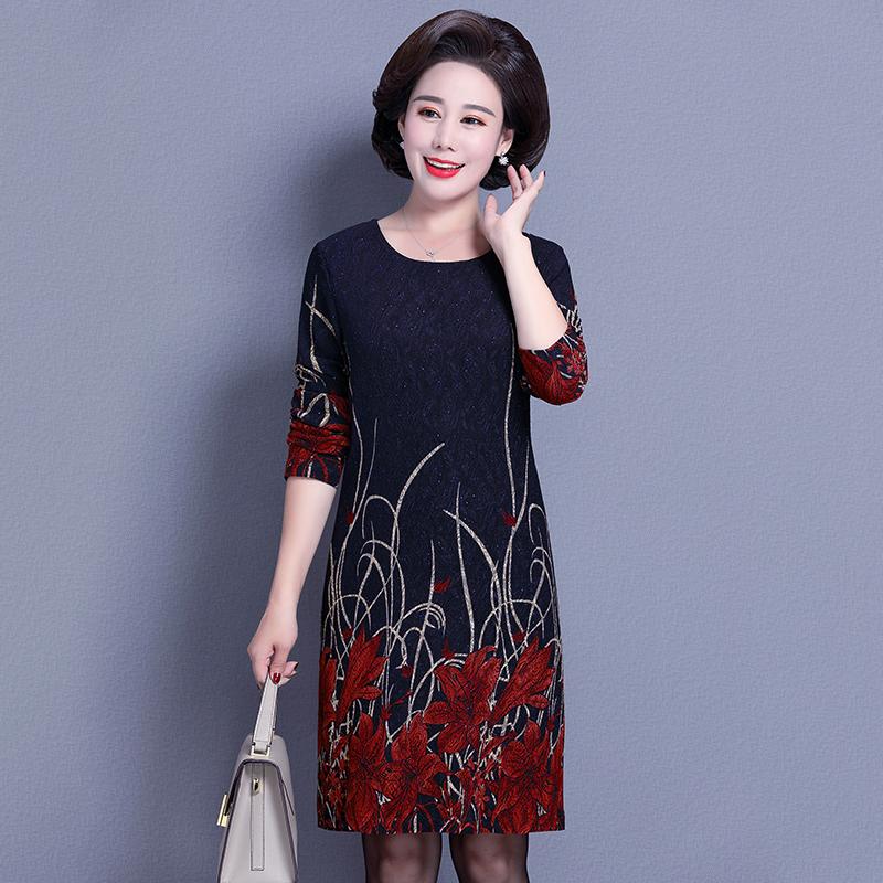 中老年女装春秋装长袖连衣裙30-40-50岁大码妈妈打底衫中长款裙子