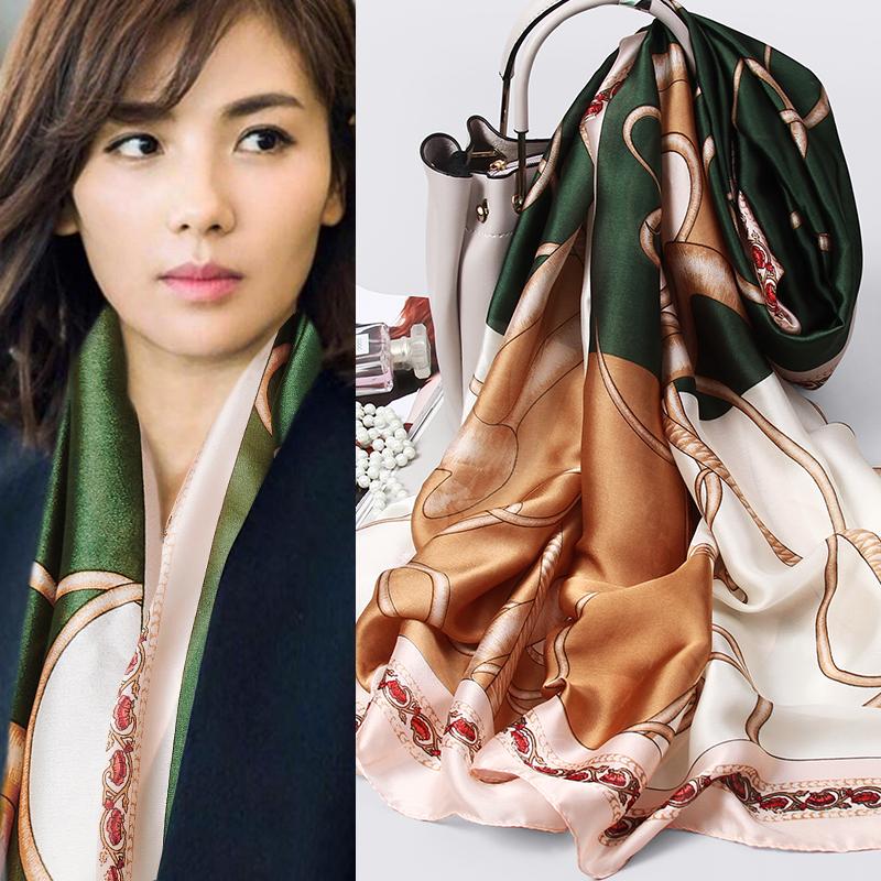 上海故事丝巾女士百搭围巾春秋冬妈妈款洋气时尚方巾小长条披肩薄