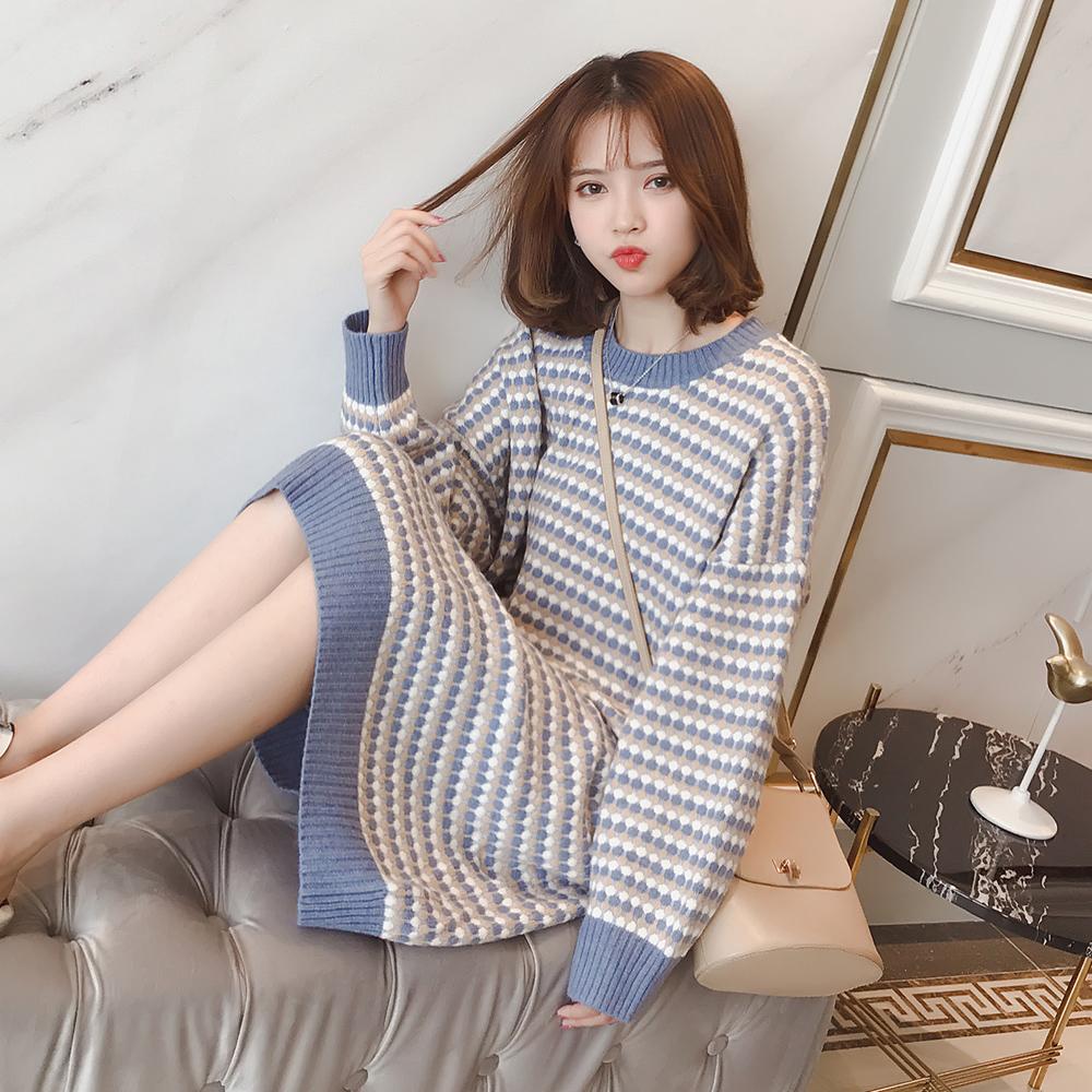 A9410-2018秋新款女装韩版圆领条纹慵懒风中长款毛衣连衣裙 1001