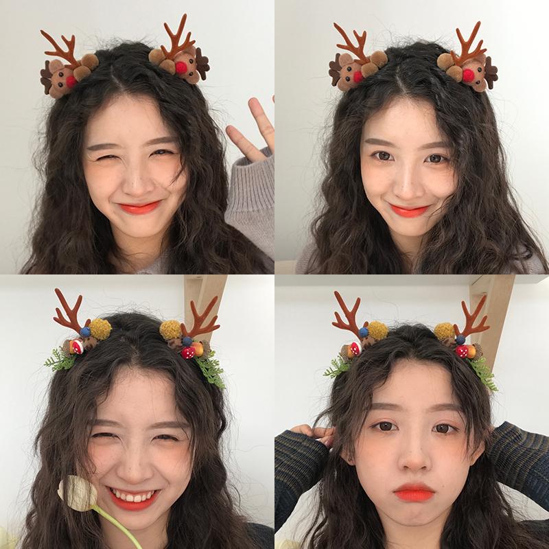 圣诞节麋鹿发箍女饰品鹿角头饰圣诞发饰装饰发带仙女森系超仙发卡