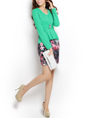 Dancing flowers ~ Pearl flower v-neck wind leave two gorgeous little Chanel spring new long sleeve dress