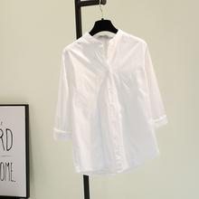 立领白色棉麻衬衫女2021秋季ko12款韩范st搭衬衣舒适上衣