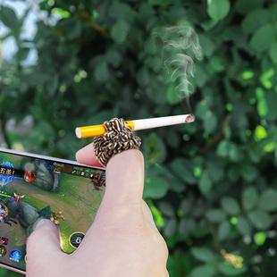 抽烟指环 创意戒指狮子王烟支架戒指夹子男士夹烟器 戒指烟托烟架图片