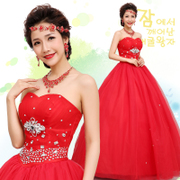 2015 new style wedding dresses bride with purple red Princess wedding Korean sweet to diamond wedding