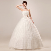 2015 new trailing roses Korean style Deluxe band Princess Bride wedding dress long plus size wedding dresses