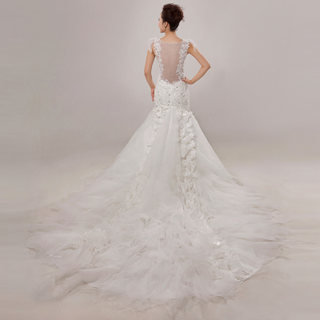 2015 new long tail feather fashion wedding dresses wedding dress slimmer tail shoulder bridal wedding dresses spring summer