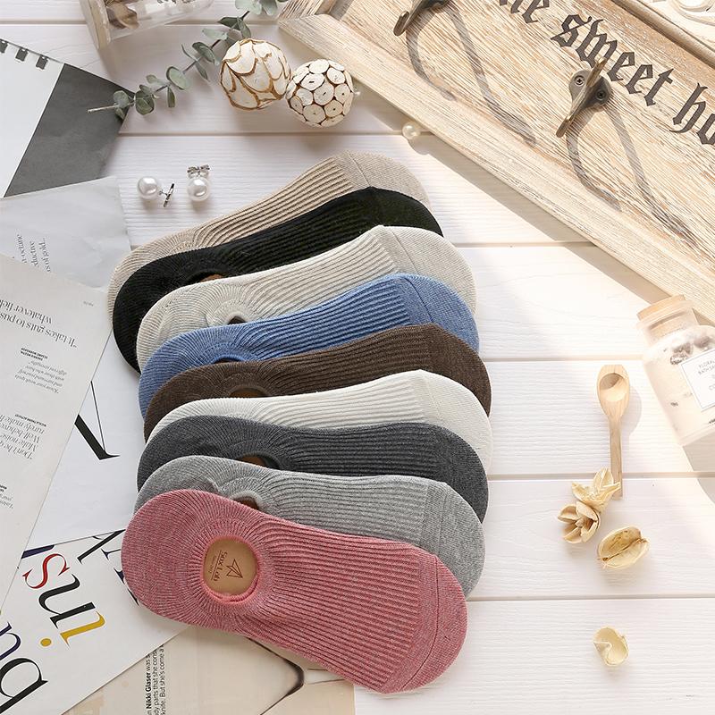 六只兔子船袜女浅口隐形纯棉简约袜硅胶低帮女士短袜防滑薄款袜子