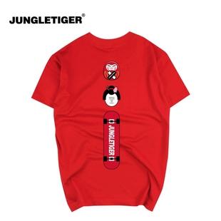 丛林老虎潮牌新品日系玩偶个性圆领T恤 街头滑板创意T恤男女