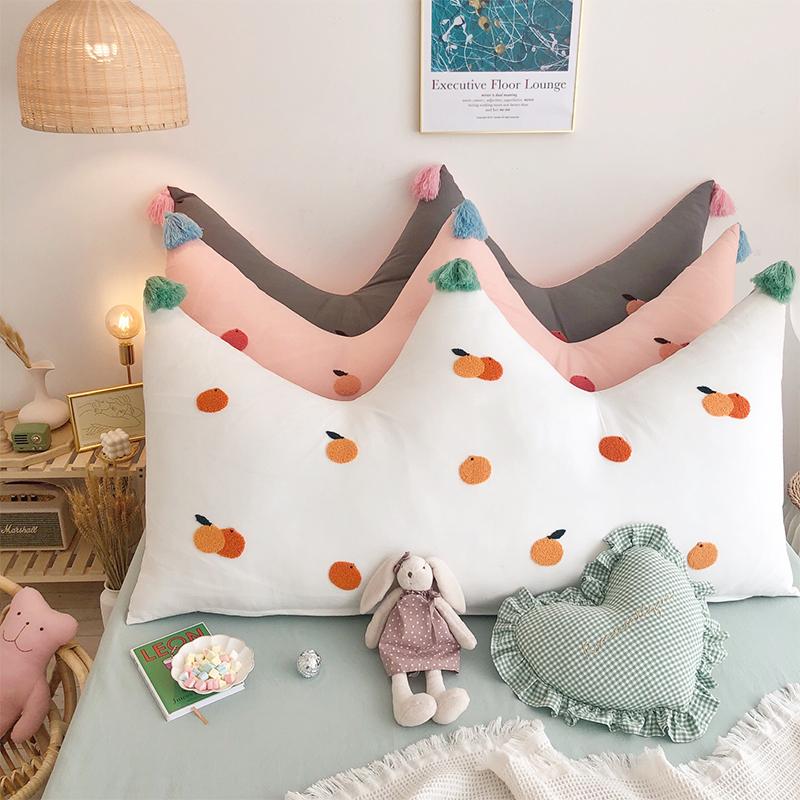 纯棉网红床上靠垫 卧室软包床头大靠背刺绣ins皇冠护腰长靠枕少女