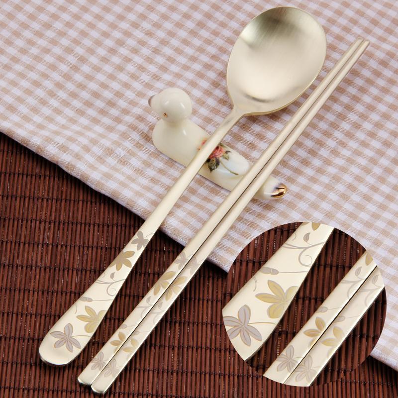 韩国不锈钢筷子勺子套装ins风金色长柄勺韩式扁筷子家用情侣餐具