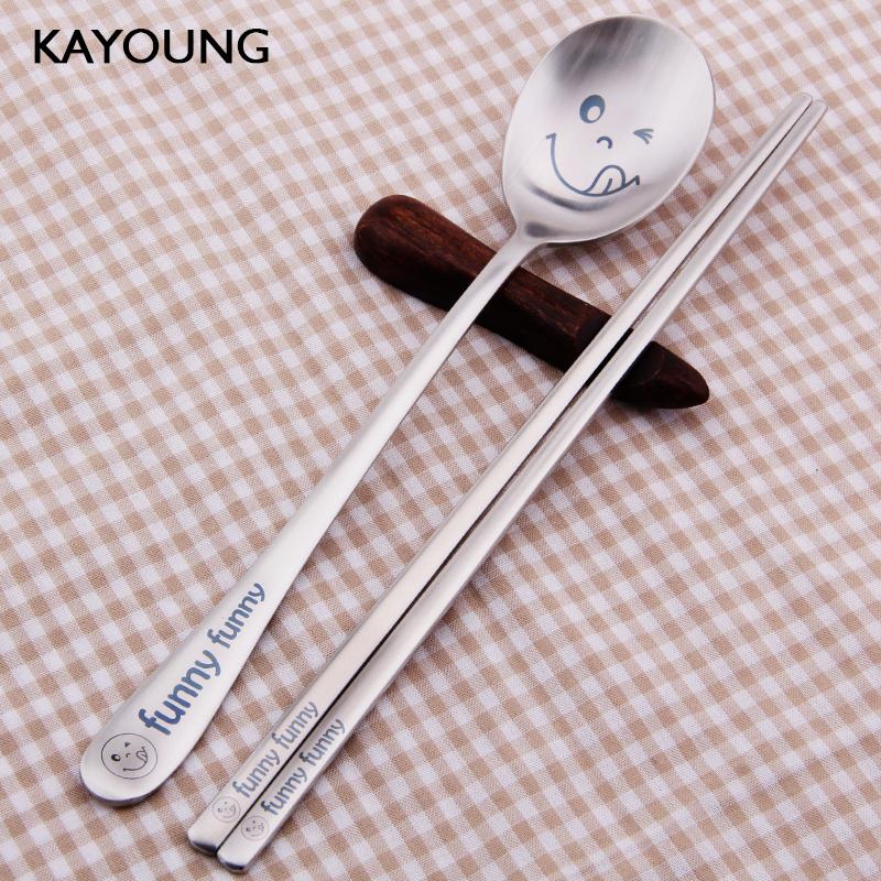 韩国勺子长柄汤勺拌饭创意可爱韩式餐具一人食筷子勺子套装ins风