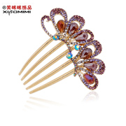 Package mail smiling new dual Butterfly Korean version of diamond crystal hair comb comb hair fork Barrette headdress and women''s hair ornaments