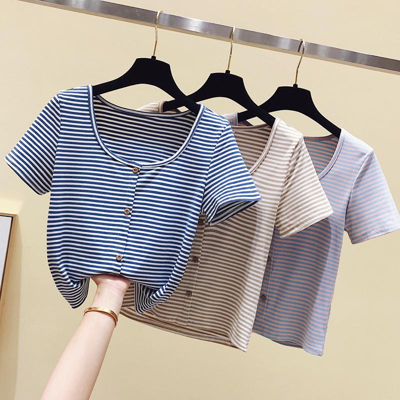 时尚house实拍新款条纹短袖多色可选 纯棉修身-时尚house-