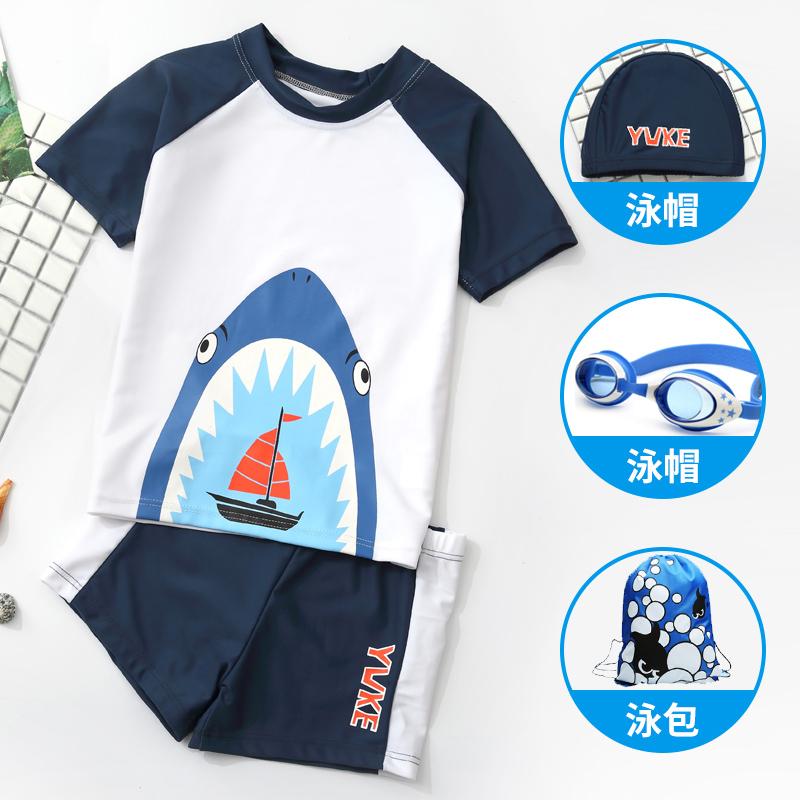 儿童泳衣男童泳裤套装男孩分体小中大童小恐龙游泳衣韩国宝宝送帽