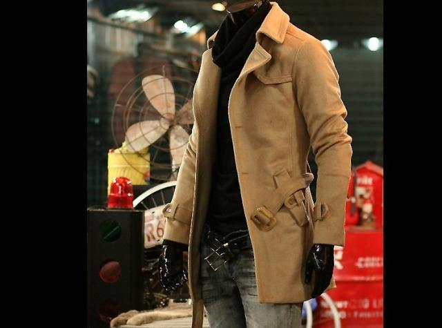 新款男装男士加厚保暖羊绒大衣单排扣中长款单排扣修身外套L214-2