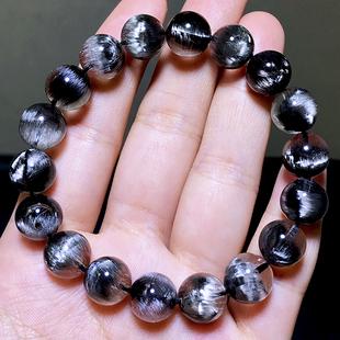 收藏级天然黑银钛晶手链招财辟邪转运男女单圈黑发晶猫眼水晶手串图片