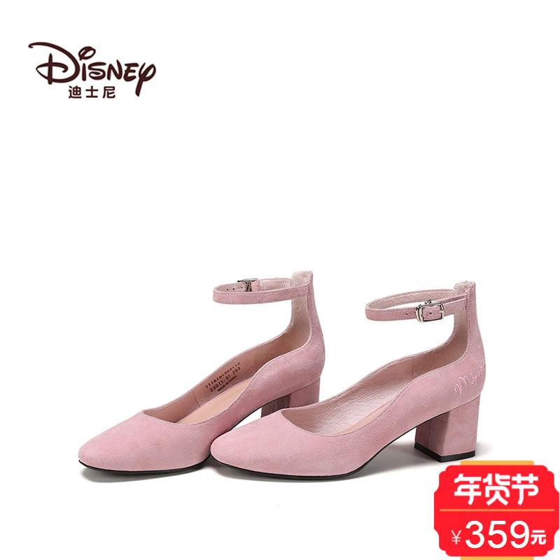 shoebox鞋柜 18春新款迪士尼羊皮绒单鞋女粗跟高跟鞋女
