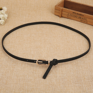 Black and white red small belt women's thin simple wild long sweater belt female decoration with dress fashion Korean