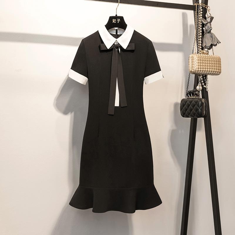 妃子2018夏装新品时尚修身荷叶边打底裙气质优雅连衣裙女夏0927RR