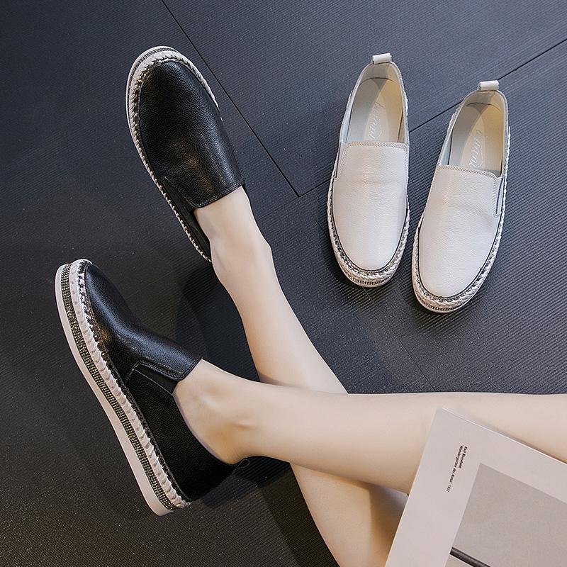 2020新款春季松糕鞋女厚底中跟皮面乐福鞋百搭一脚蹬女鞋懒人板鞋
