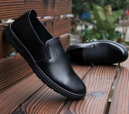 清仓男式全黑休闲皮鞋耐油防滑底工作鞋软皮单鞋软底上班鞋劳保鞋