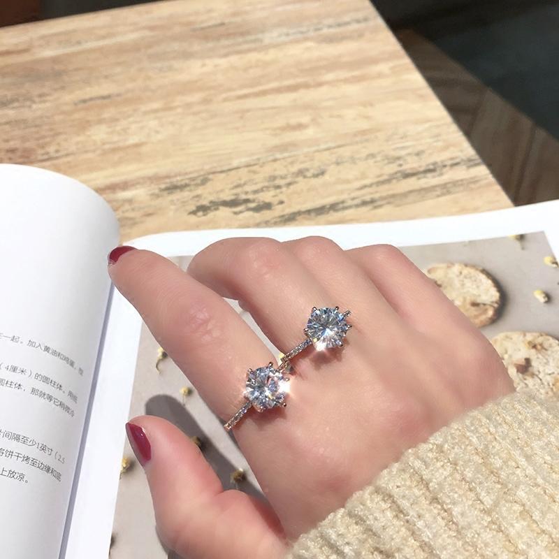 日韩奢华仿真钻戒女简约六爪钻石戒指情侣对戒不掉色结婚戒指指环