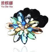 Ya na genuine sparkling Korea high-grade looped rope fashion Crystal circle Korean hair jewelry fqf03