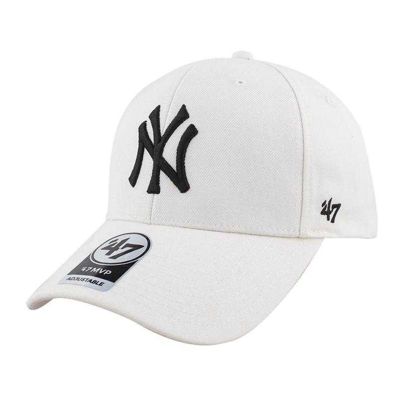 47正品ny鸭舌帽米白色帽子男韩版百搭女弯檐帽嘻哈休闲硬顶棒球帽