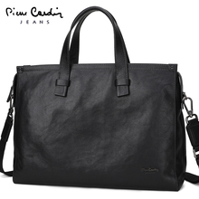 Pilkadan men's bag, leather large-capacity handbag, business leisure cowhide briefcase, men's one-shoulder inclined bag