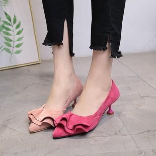 韩版瓢鞋女秋2017新款中跟单根尖头甜美粉色高跟鞋细跟卡其色单鞋图片