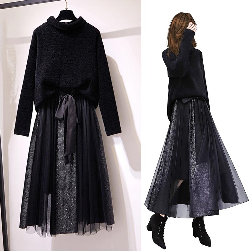 微胖特大码女装胖妹妹减龄秋冬心机两件套装洋气显瘦遮胯连衣裙子