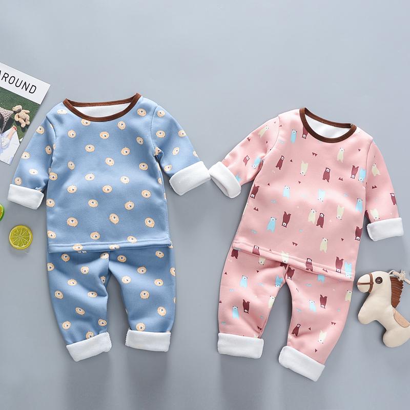 男童冬装儿童保暖内衣套装加绒加厚童装女宝宝睡衣婴幼儿秋衣秋裤