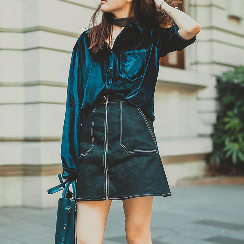 百搭金丝绒上衣宽松复古韩版衬衣打底气质衬衫女长袖2017秋装