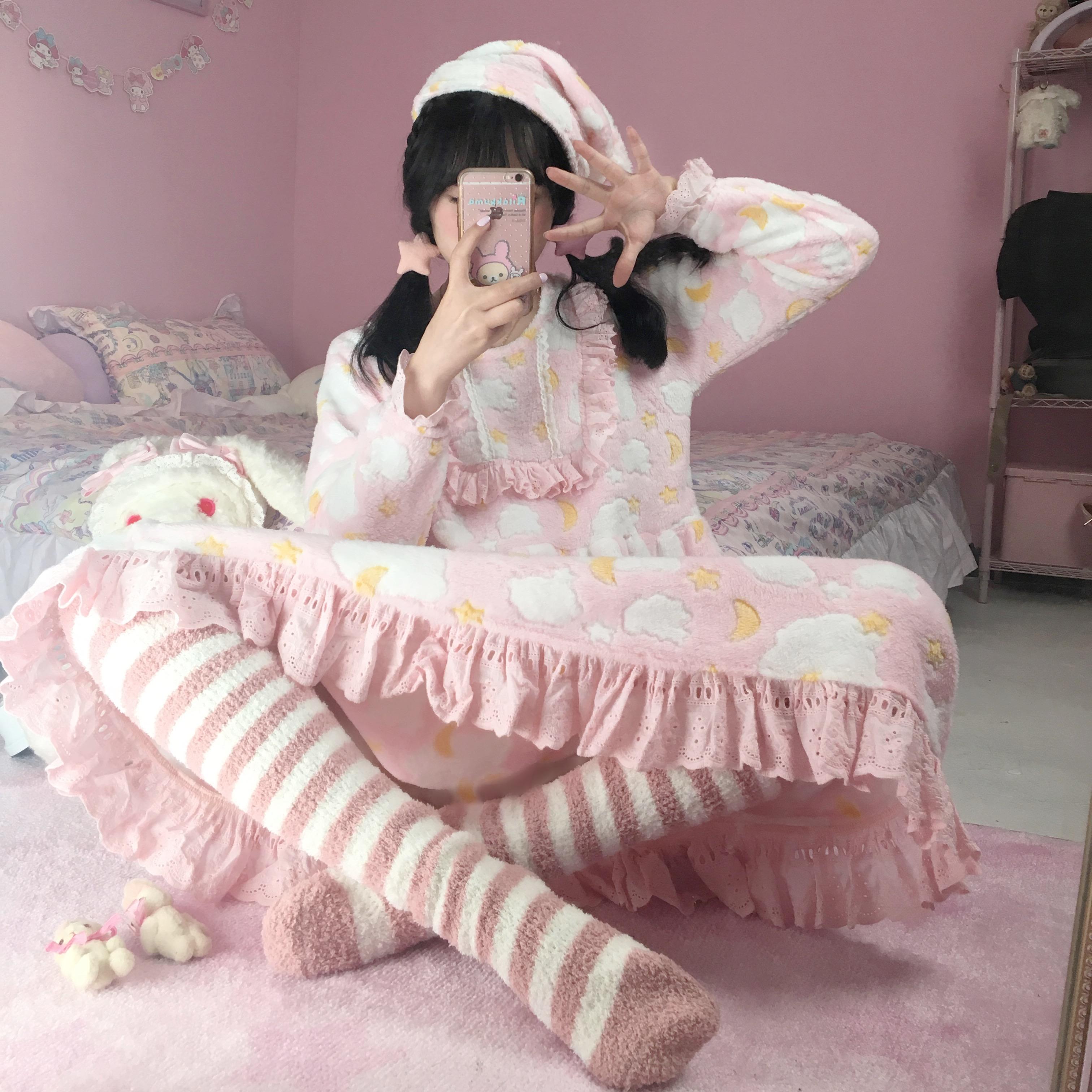 【十二工作室】晚安睡衣 经典款 珊瑚绒家居适用舒适可爱睡裙