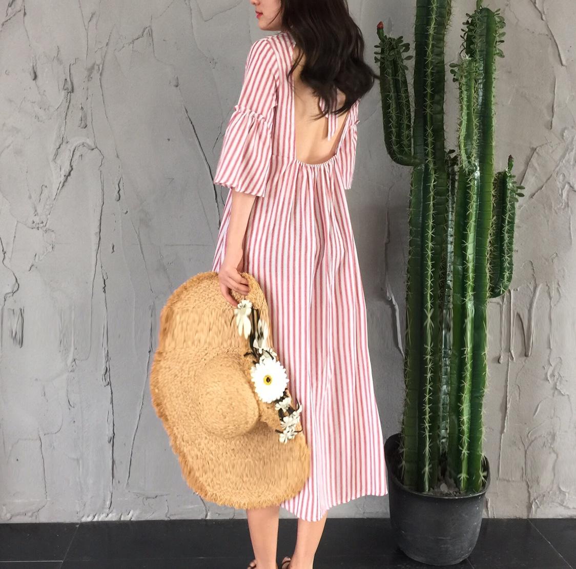 海边 法式 度假 露背 条纹 宽松 喇叭 绑带 长裙 连衣裙
