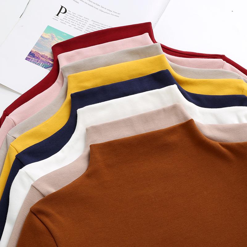 半高领长袖打底衫女秋季T恤2018新品上衣小衫修身显瘦