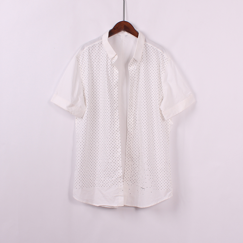 2018夏装新品休闲显瘦短袖男士T恤圆点图案时尚打底纯棉衬衫上衣