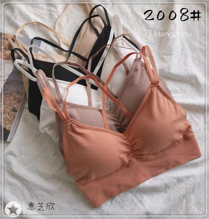 惠芝欣2008新款交叉美背抹胸无钢圈舒适内衣女学生背心式文胸吊带
