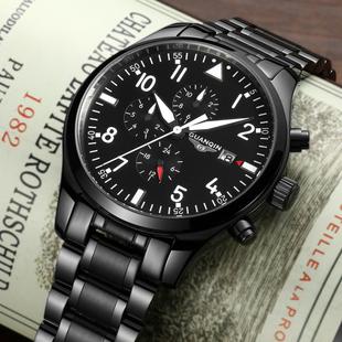 冠琴男士机械表 全自动精钢带碳纤维手表防水夜光男表多功能军表