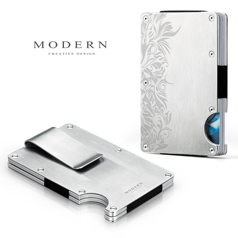 德国MODERN航空铝制钱夹钱包不锈钢卡夹钱夹男士金属钱夹创意时尚