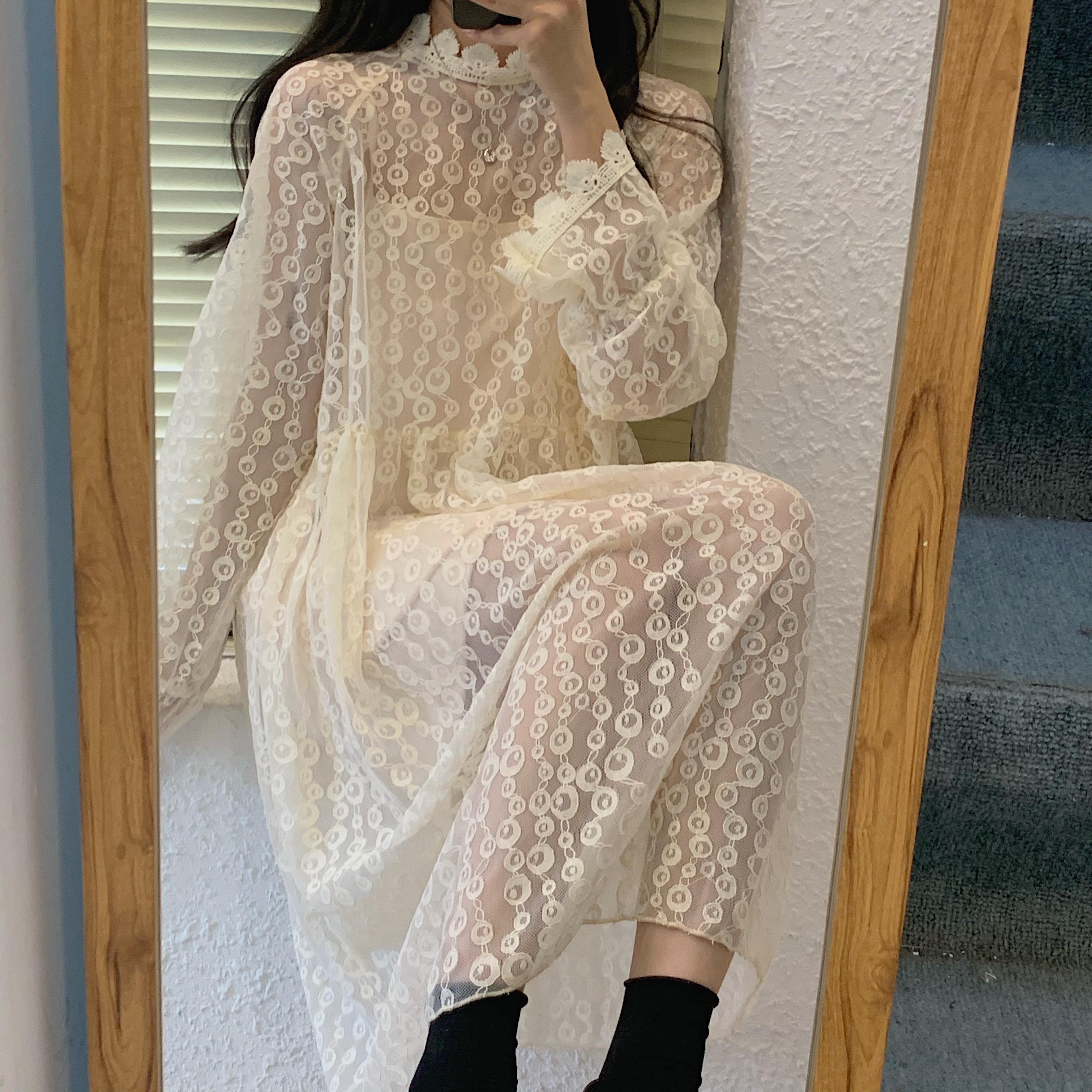 限58实拍实价2020新款内搭宽松显瘦中长款蕾丝连衣裙两件套女-大小姐LS-