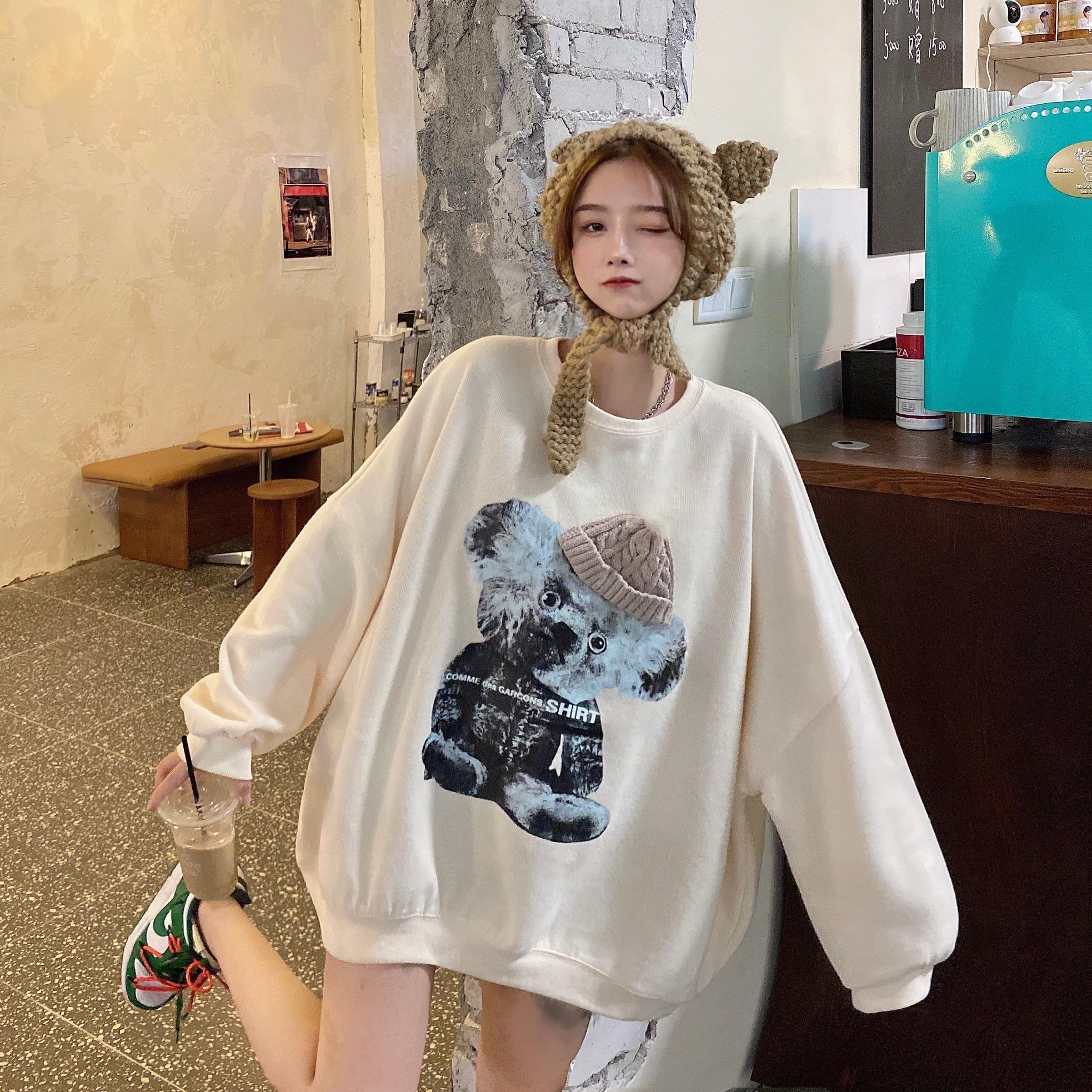 实拍实价2020新款韩版圆领宽松卡通小熊中长款卫衣女-大小姐LS-