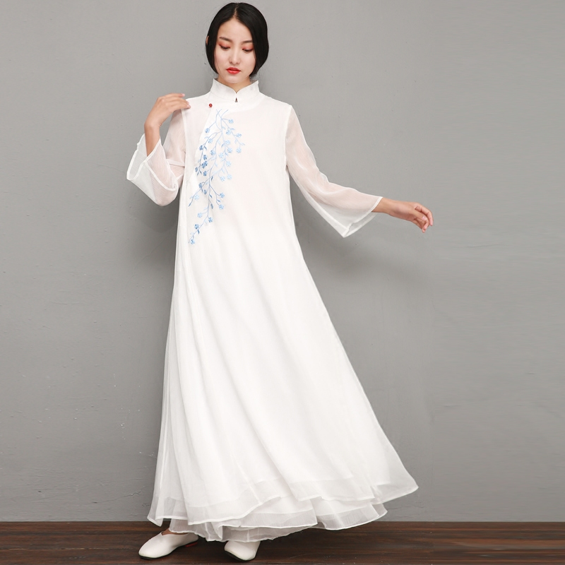 落樱-中式春夏仙气唐装立领茶服禅服禅舞刺绣提花大裙摆连衣裙