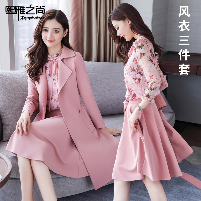 秋季时尚套装裙秋装女装2018新款中长款气质长袖连衣裙潮春秋裙子