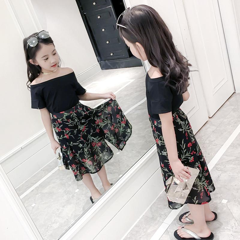 女童套装夏装2018新款韩版时尚洋气儿童装夏季时髦两件套潮中大童