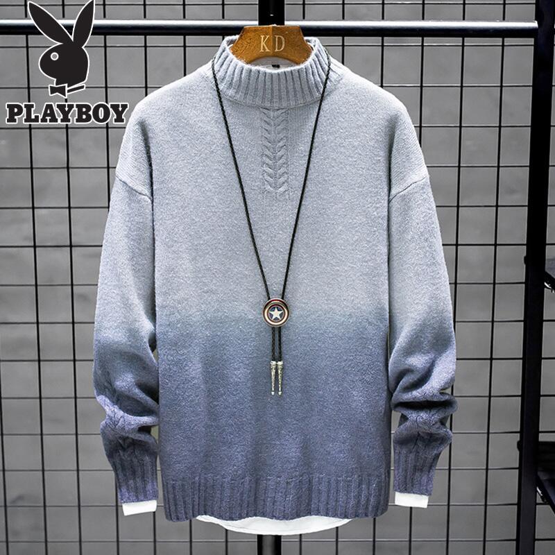 花花公子毛衣男士韩版潮流冬季加绒加厚款宽松针织衫男半高领线衣