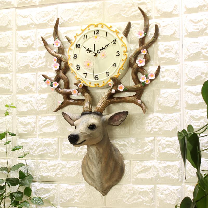 鹿头挂钟客厅现代简约艺术奢华个性时尚大气北欧欧式家用创意钟表