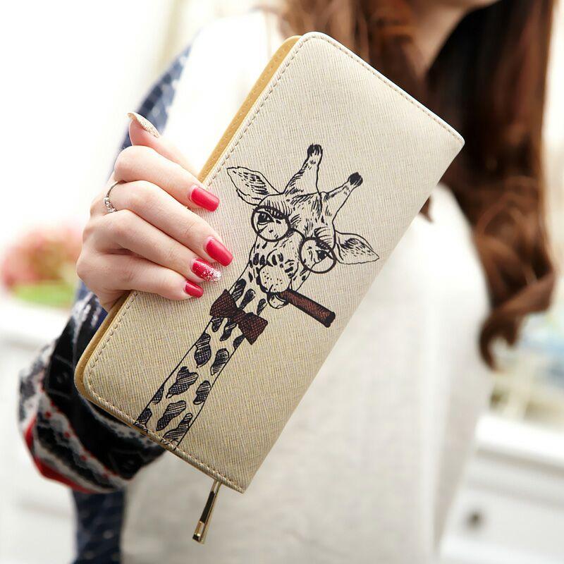 女士长款钱包2019新款韩版卡通可爱长颈鹿学生手拿包拉链手包皮夹