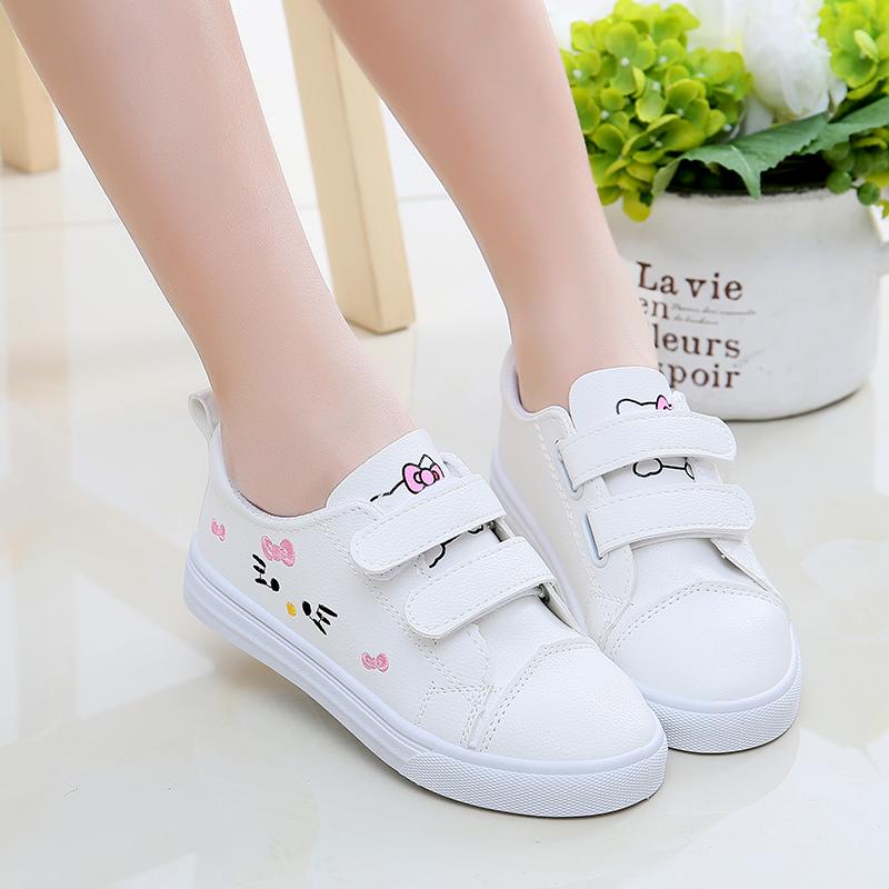 4女童小白鞋2018新款6女孩子7韩版8儿童9可爱白色